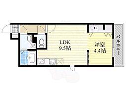 福岡市地下鉄箱崎線 箱崎宮前駅 徒歩6分の賃貸マンション 4階1LDKの間取り