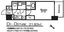 エスリード福島グレイス 2階1Kの間取り