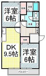 トゥインクル東和田B[105号室]の間取り