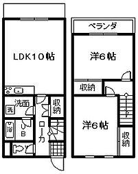 [テラスハウス] 大阪府泉佐野市下瓦屋6丁目 の賃貸【/】の間取り
