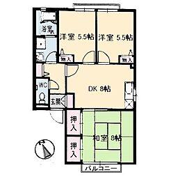 岡山県岡山市中区高島新屋敷の賃貸アパートの間取り