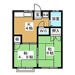 コーポ西多賀[2階]の間取り