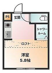 REAL BLOSSOMII芝田 2階ワンルームの間取り