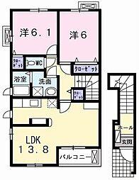 兵庫県加古川市別府町新野辺北町5丁目の賃貸アパートの間取り