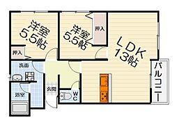 大阪府堺市西区上野芝町7丁の賃貸マンションの間取り
