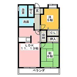 HAKUBIコーポラス[3階]の間取り