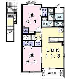 フェリオD[2階]の間取り