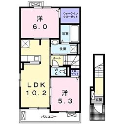 JR小野田線 妻崎駅 徒歩29分の賃貸アパート 2階2LDKの間取り