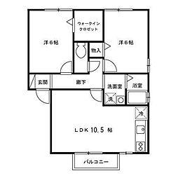 セジュールミキ[2階]の間取り