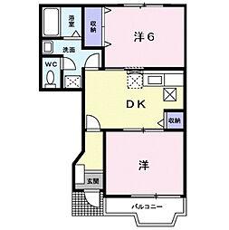広島県福山市能島3丁目の賃貸アパートの間取り