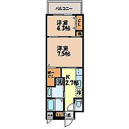 長崎県長崎市目覚町の賃貸マンションの間取り
