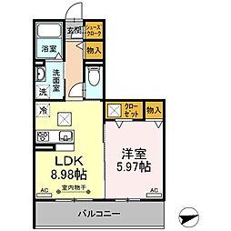 名古屋市営東山線 本陣駅 徒歩4分の賃貸アパート 1階1LDKの間取り