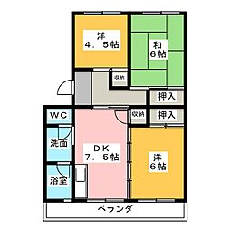 パークハイツ左京山[1階]の間取り