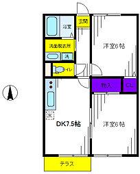 カギナカハイツL・M[1階]の間取り