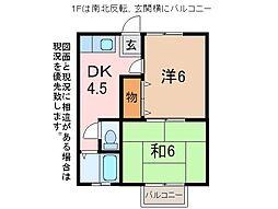 ハイツ里吉第2[1階]の間取り