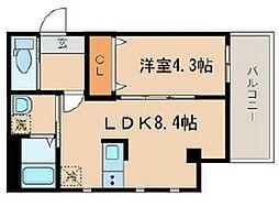 シーズガレリア目黒 3階1LDKの間取り