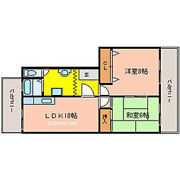 大阪府八尾市高安町南7丁目の賃貸マンションの間取り