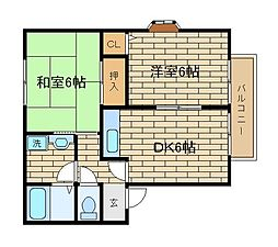 兵庫県神戸市須磨区潮見台町3丁目の賃貸アパートの間取り