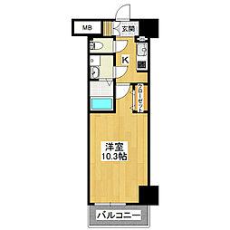 Fleek Tower ひたち野東 2階1Kの間取り