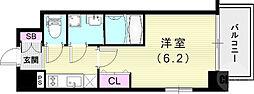 JR山陽本線 兵庫駅 徒歩4分の賃貸マンション 6階1Kの間取り