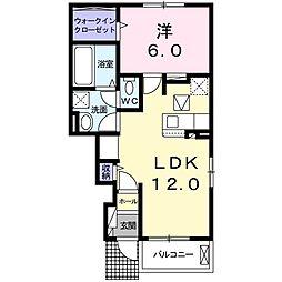 つくばエクスプレス 柏たなか駅 徒歩14分の賃貸アパート 1階1LDKの間取り