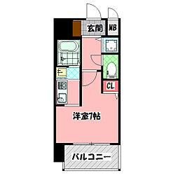 クレアート大阪トゥールビヨン 6階1Kの間取り
