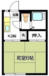 クワタコーポ[202号室]の間取り