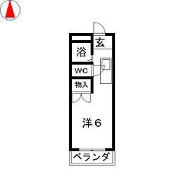 コーポ丁田[1階]の間取り