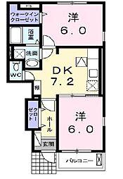 JR山陽本線 明石駅 バス15分 水谷2丁目下車 徒歩5分の賃貸アパート 1階2DKの間取り