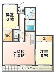 滋賀県大津市鏡が浜の賃貸アパートの間取り