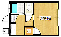 兵庫県神戸市灘区大和町3丁目の賃貸アパートの間取り
