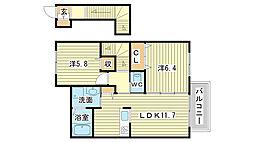 リトルフォレスト田寺[201号室]の間取り