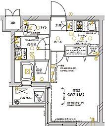 ディアレイシャス武蔵新城 4階1Kの間取り