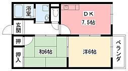 兵庫県西宮市甲子園一番町の賃貸アパートの間取り