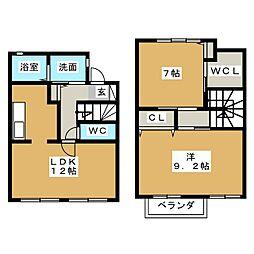 [テラスハウス] 静岡県藤枝市瀬戸新屋 の賃貸【/】の間取り
