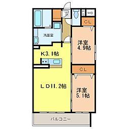 仮称D-Room旭ヶ丘町 5階2LDKの間取り