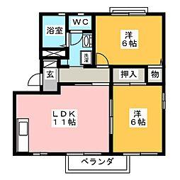 ル・レーヴ D棟[2階]の間取り