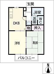 愛知県知多郡美浜町大字河和字西谷の賃貸アパートの間取り