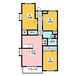 ベルックスA[4階]の間取り