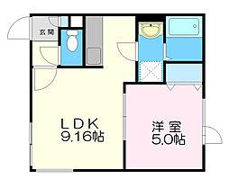 レアルコンシェルト 3階1LDKの間取り