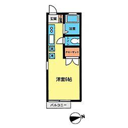 ハイツ尾山台[101号室]の間取り