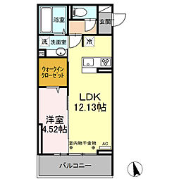 JR久大本線 久留米大学前駅 徒歩5分の賃貸アパート 3階1LDKの間取り