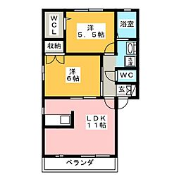 シャトー999B[2階]の間取り