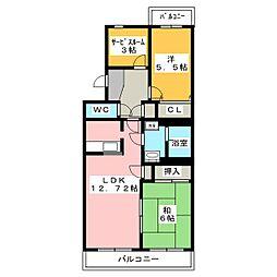 エスポワールSK B[4階]の間取り