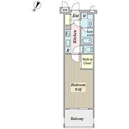 ボナール プランドール 3階1Kの間取り