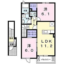 熊本電気鉄道 御代志駅 バス16分 富の原下車 徒歩15分の賃貸アパート 2階2LDKの間取り