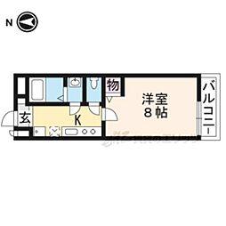 京阪本線 伏見稲荷駅 徒歩8分の賃貸マンション 2階1Kの間取り