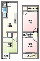 [テラスハウス] 大阪府寝屋川市点野4丁目 の賃貸【/】の間取り