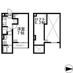ノア瓜生堂[201号室号室]の間取り