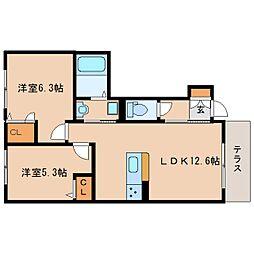 JR関西本線 木津駅 徒歩20分の賃貸アパート 1階2LDKの間取り